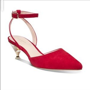 KATE SPADE CHANDLER RED PUMPS WITH CLEAR HEEL